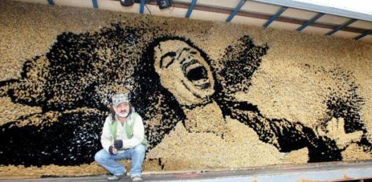 Albania. Samir Strati's mosaic of Michael Jackson