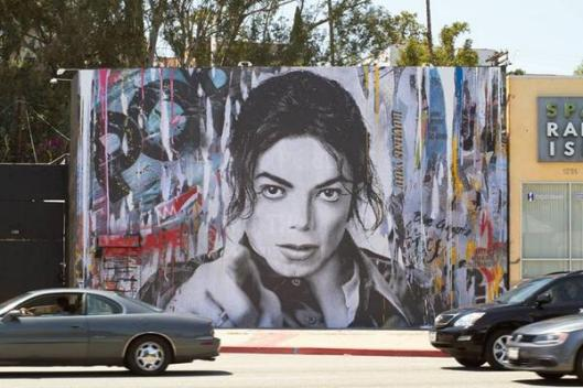 Mr. Brainwash's ever evolving wall of MJ, located on the outside of his LA studio